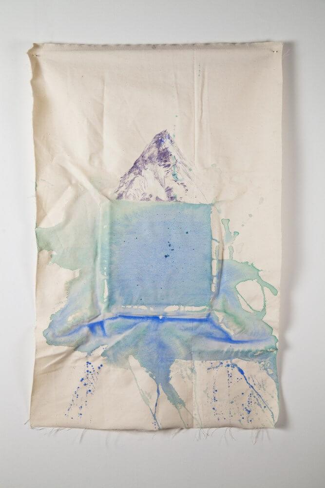 zo serie Ostrovy, 75x49cm, akryl a pero na platne