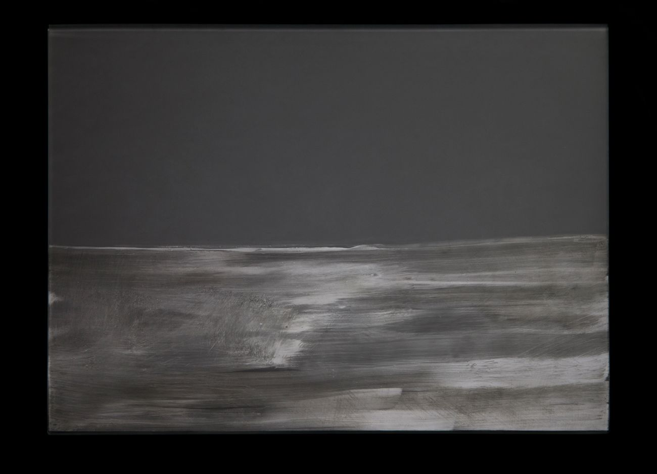 1. zo série Oceano, 35x30cm, maľba a kresba na skle, 2017