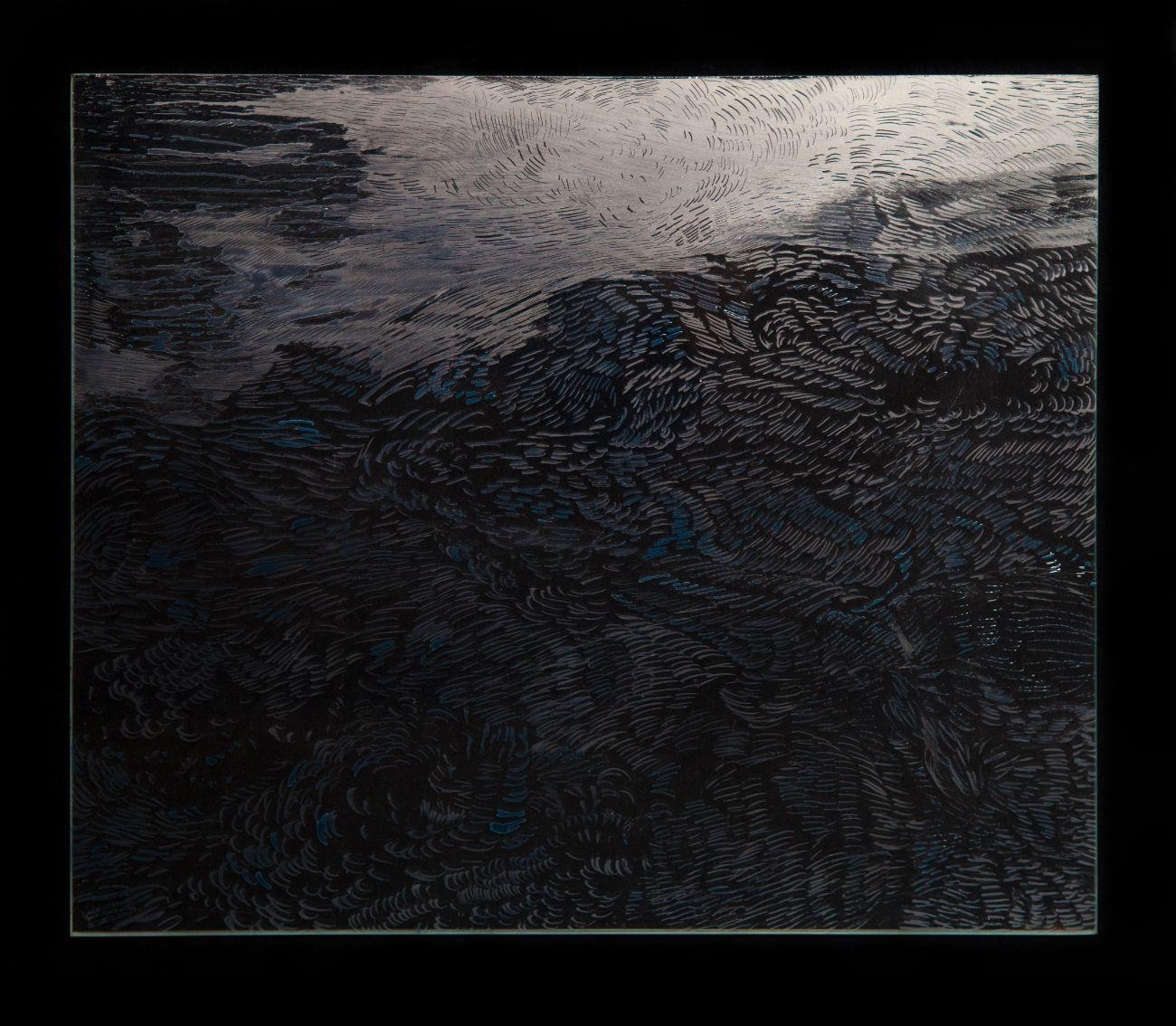 10. zo serie Oceano, 35x30cm, maľba na skle, 2017