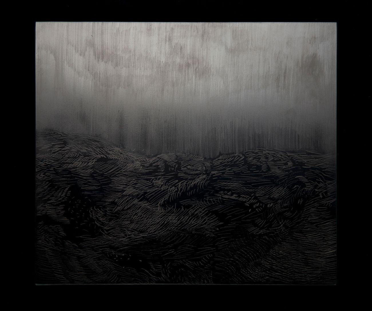 2. zo série Oceano, 35x30cm, maľba a kresba na skle, 2017