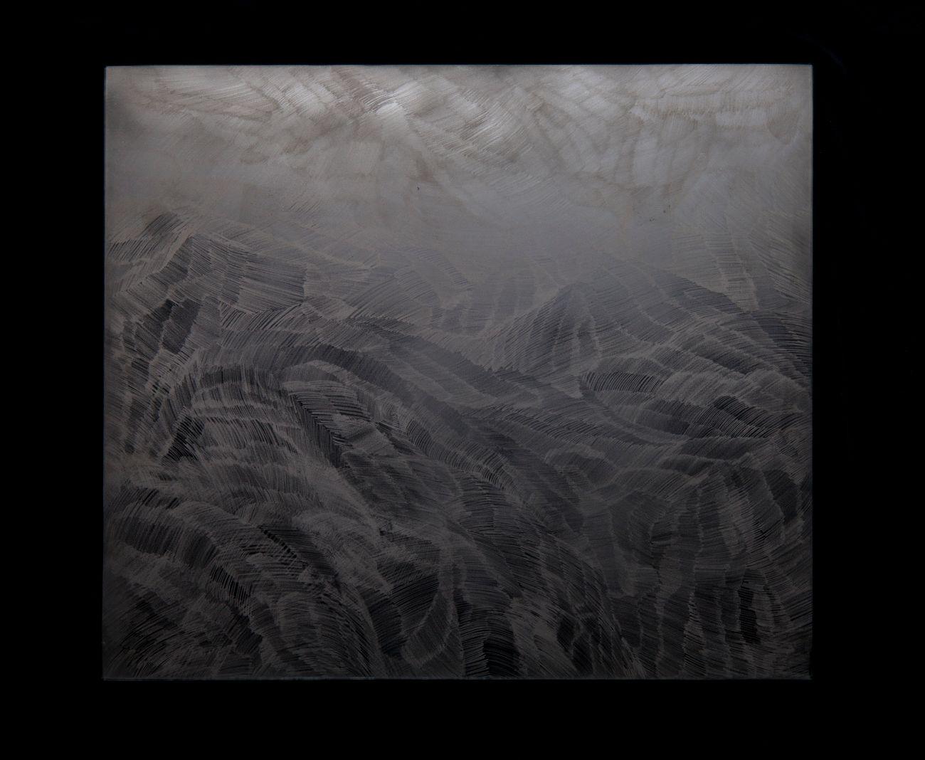 3. zo série Oceano, 35x30cm, maľba a kresba na skle, 2017