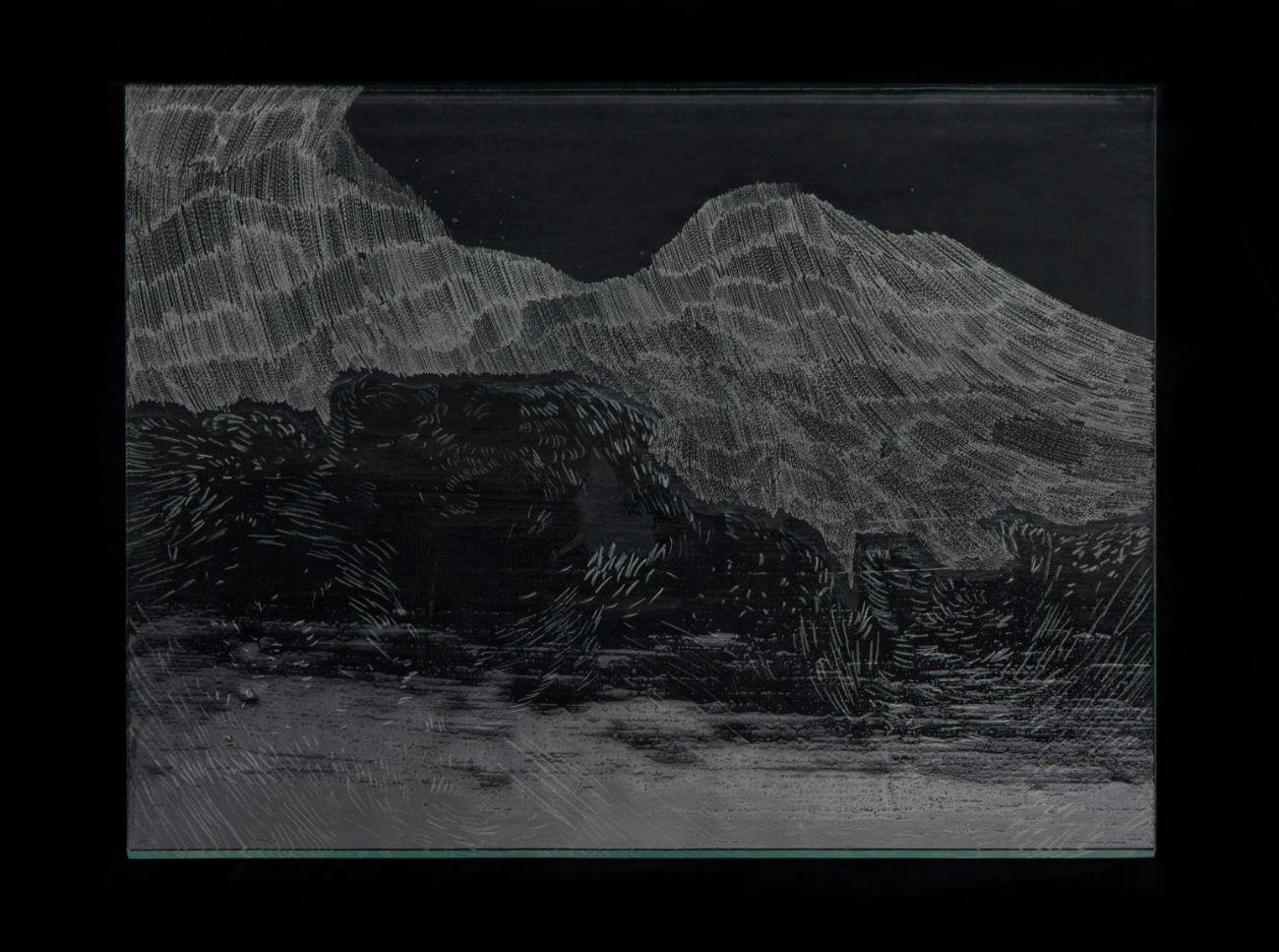 5. zo série Oceano, 35x30cm, maľba, kresba a gravírovanie na skle, 2017