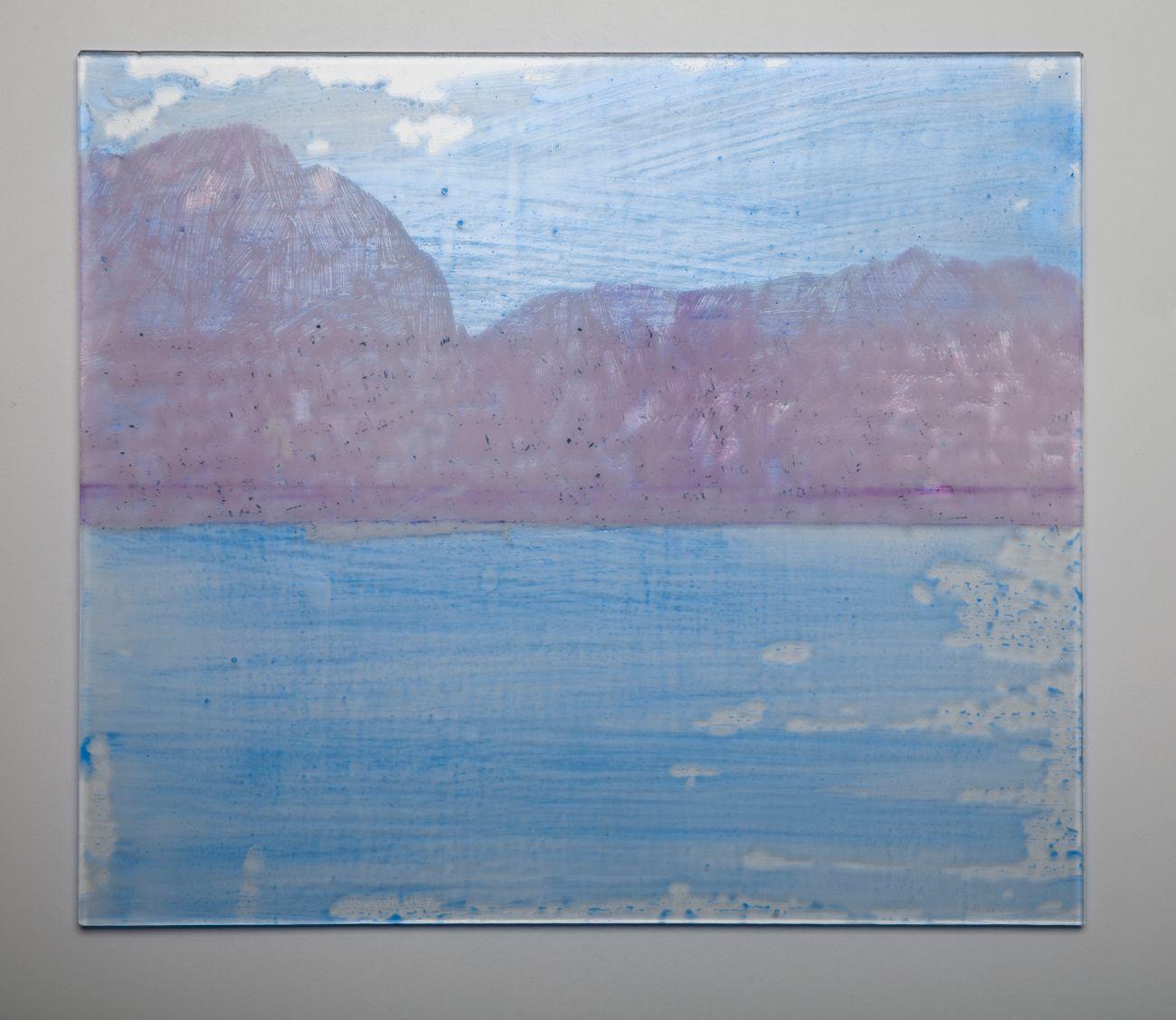 6. zo série Oceano, 35x30cm, maľba, kresba a gravírovanie na skle, 2017