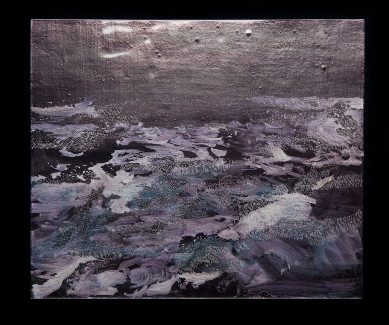 7. zo série Oceano, 35x30cm, maľba, kresba a gravírovanie na skle, 2017