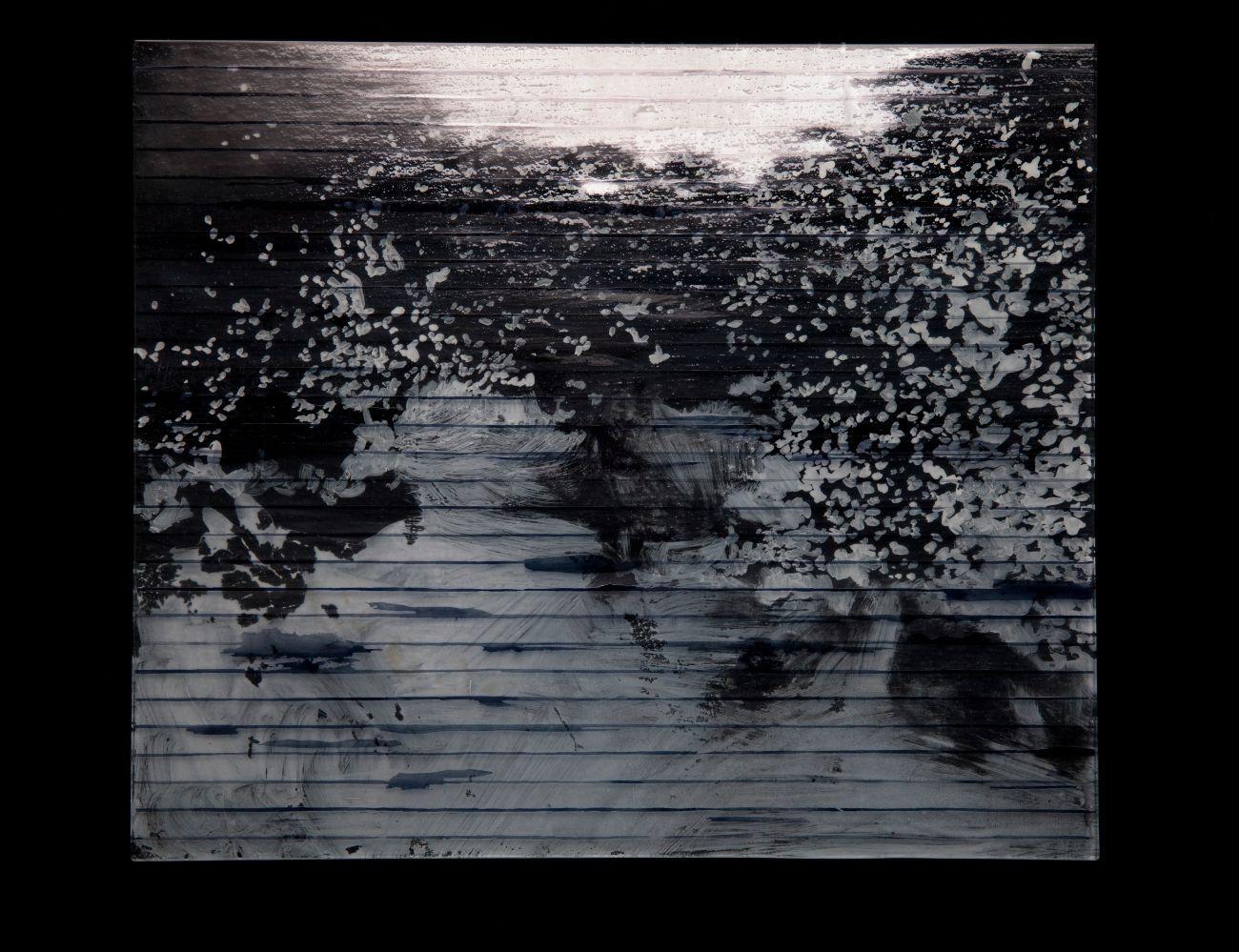 9. zo série Oceano, 35x30cm, maľba na skle, 2017