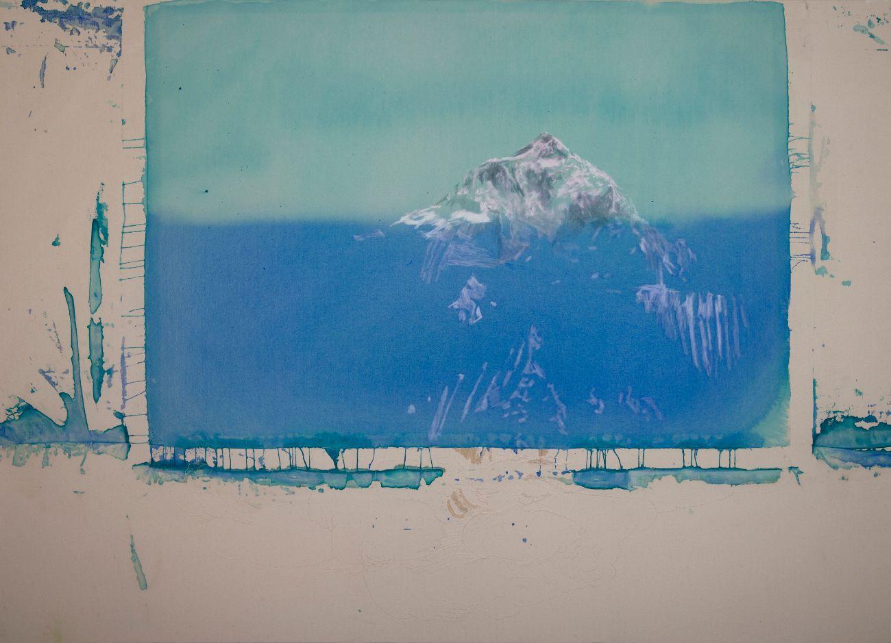 Everest, 140x190cm, akryl, rudka a farebné ceruzky na plátne