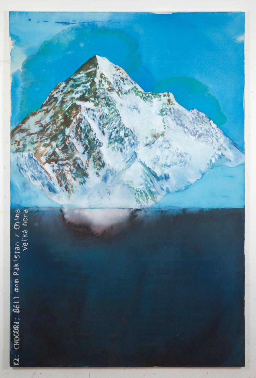 K2 Chogori, 130x200cm,akryl a vyšívka na plátne, 2019