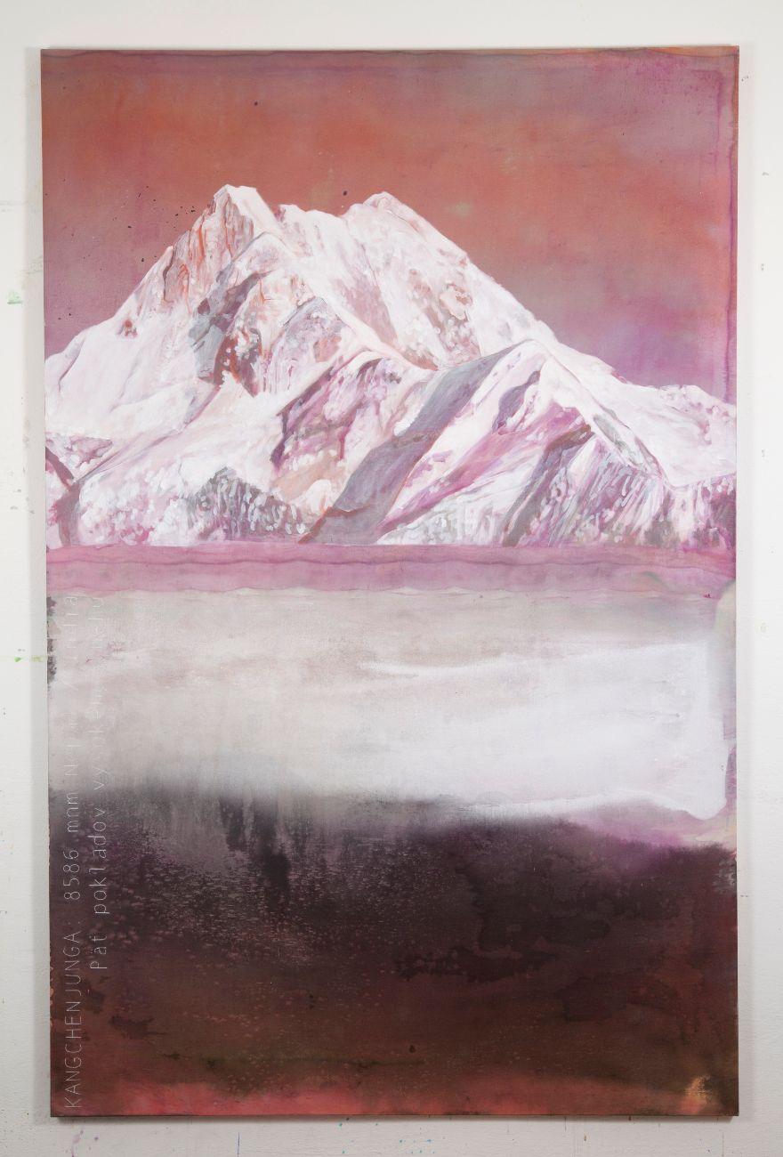 Kanchenjunga, 130x200cm, akryl, olej a vyšívka na plátne, 2019