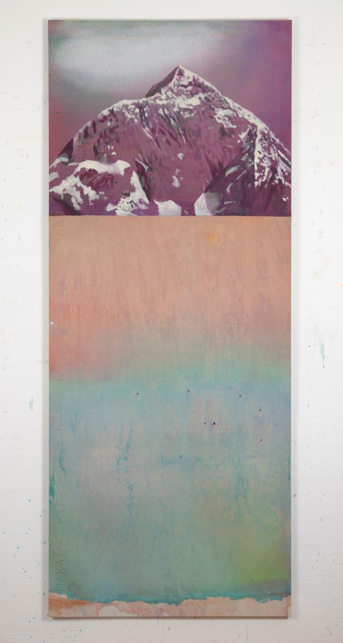 Makalu, 80x200cm, akryl a vyšívka na plátne, 2019