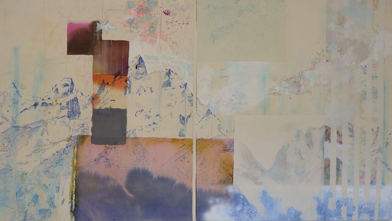 Tetons, 2x168x190cm, mixed media on canvas, 2016