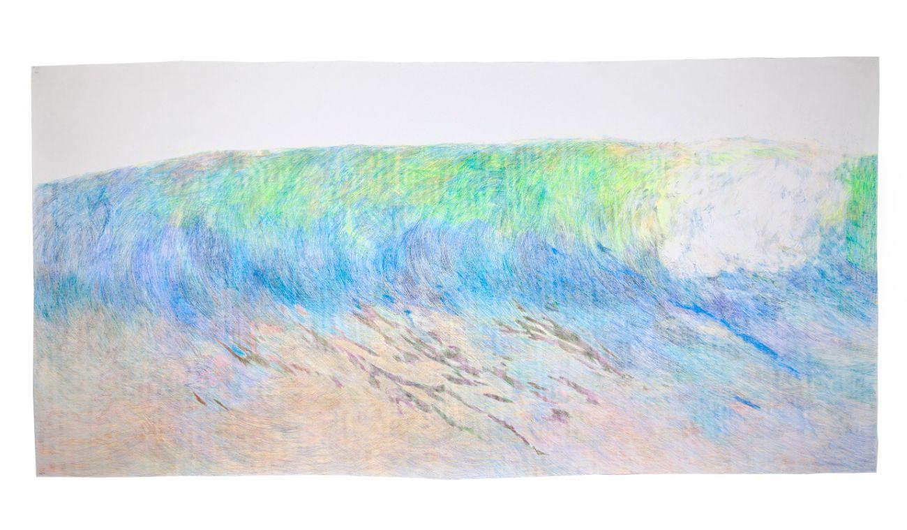 Zo série Čakanie na diaľku, 270x110cm, farebné ceruzy na papieri, 2017