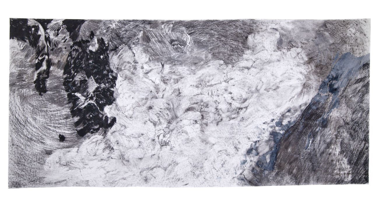 Zo série Čakanie na diaľku, 270x115cm, uhlík na papieri, 2017