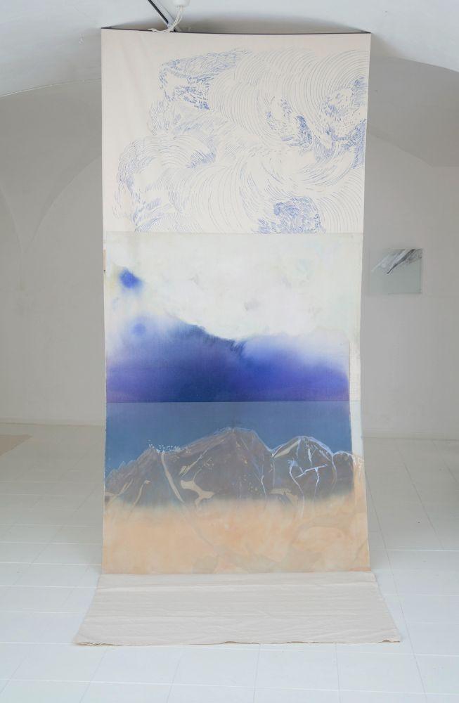 Bez názvu, grafit, lister a sklárska farba na skle, akryl a fixa na plátne; objekt 292 x 145 x 115 cm, sklo 95 x 145 cm, 2021 3