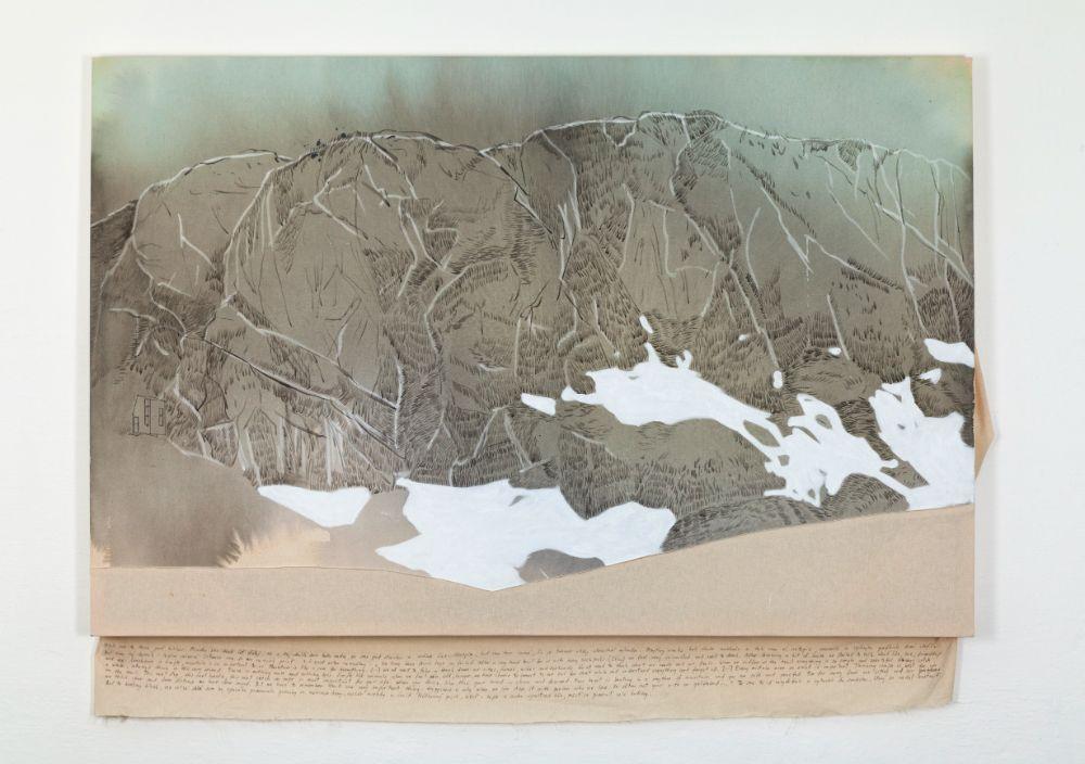 Bivak Pavla Kemperla, 90x136cm, acrylics, pen and embroidery on canvas, 2021