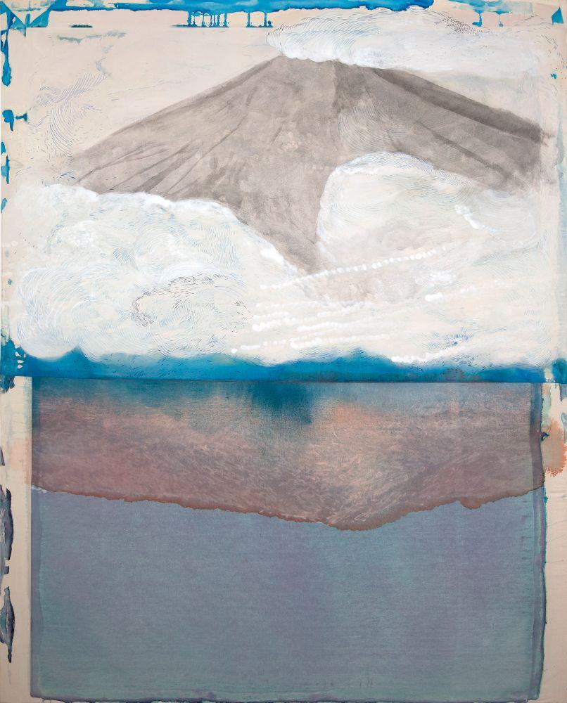 Mount Ngauruhoe, akryl, fixa a tuš na plátne, 190 x 150cm, 2021