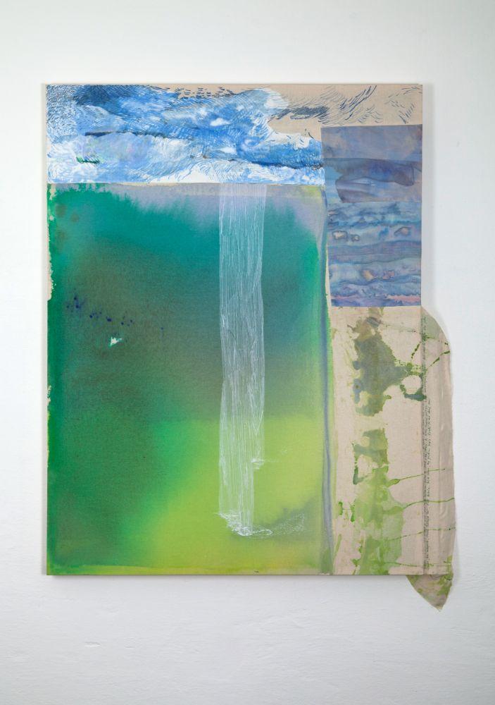 Seljalandsfoss, 118x90cm, acrylics, marker and embroidery on canvas, 2021