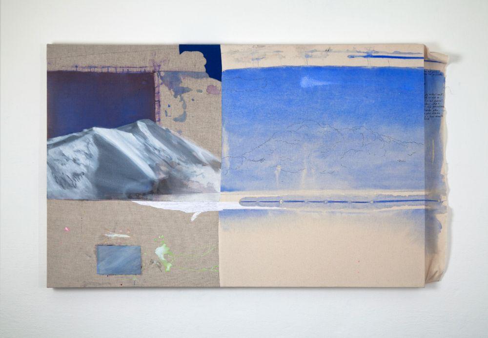 Smrek a Baranec, 90 x 140cm, acrylics, pen and embroidery on canvas, 2021
