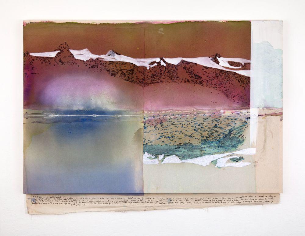 Vatnajokull, 90x135cm, acrylics, marker and emroidery on canvas, 2021