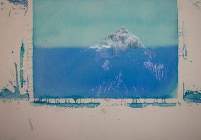 Everest 140x190cm, akryl, rudka a farebne ceruzky na platne