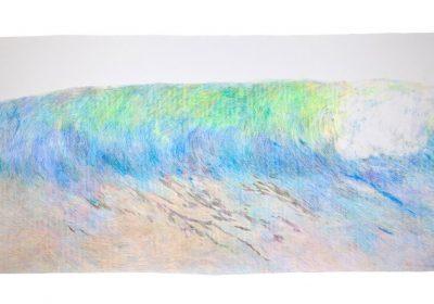 Zo serie Cakanie na dialku, 270x110cm, farebne ceruzy na papieri, 2017